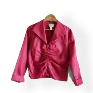 TALBOTS Top Silk Taffeta Ruched Front French Cuffs